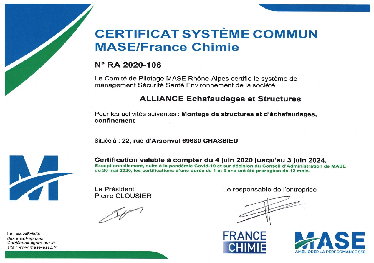 Alliance Echafaudages - Certification MASE